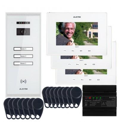 """ELECTRAVideointerfon Electra Smart+ 7"""" pentru 3 familii montaj aparent - alb"""