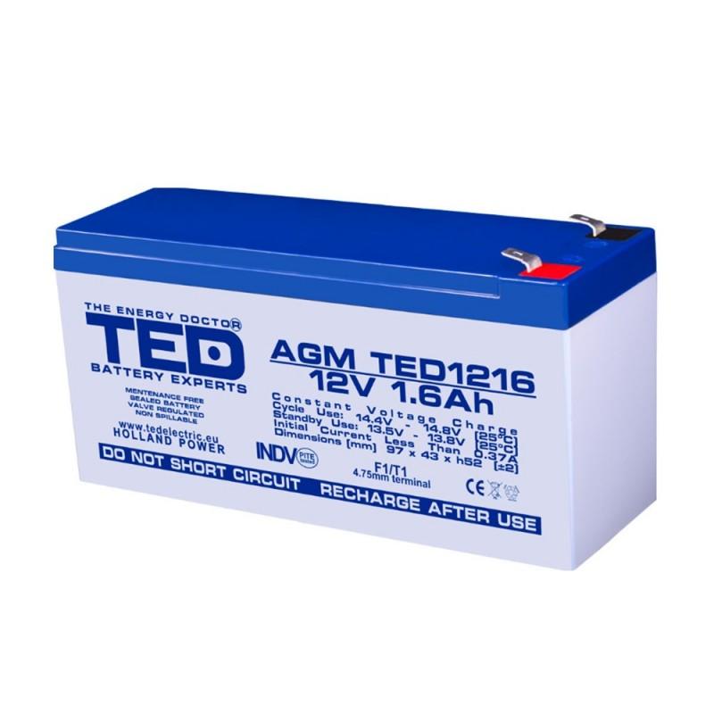 TEDBATERIE AGM TED1216F1 12V 1.6Ah