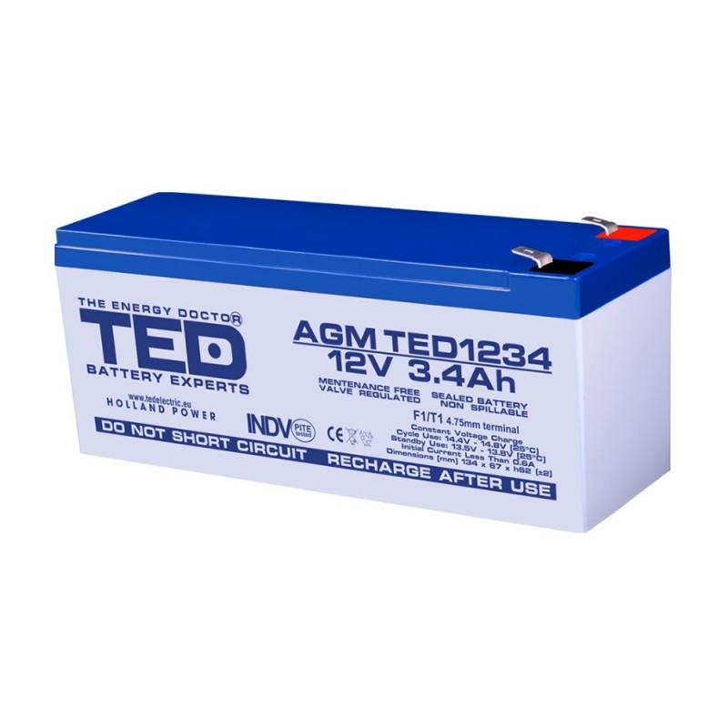 TEDBATERIE AGM TED1234F1 12V 3.4Ah