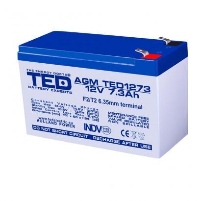 Baterii si acumulatori BATERIE AGM TED1273F2 12V 7.3Ah TED