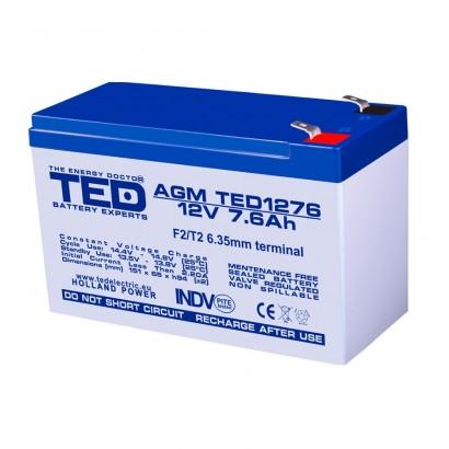 TEDBATERIE AGM TED1276F2 12V 7.6Ah