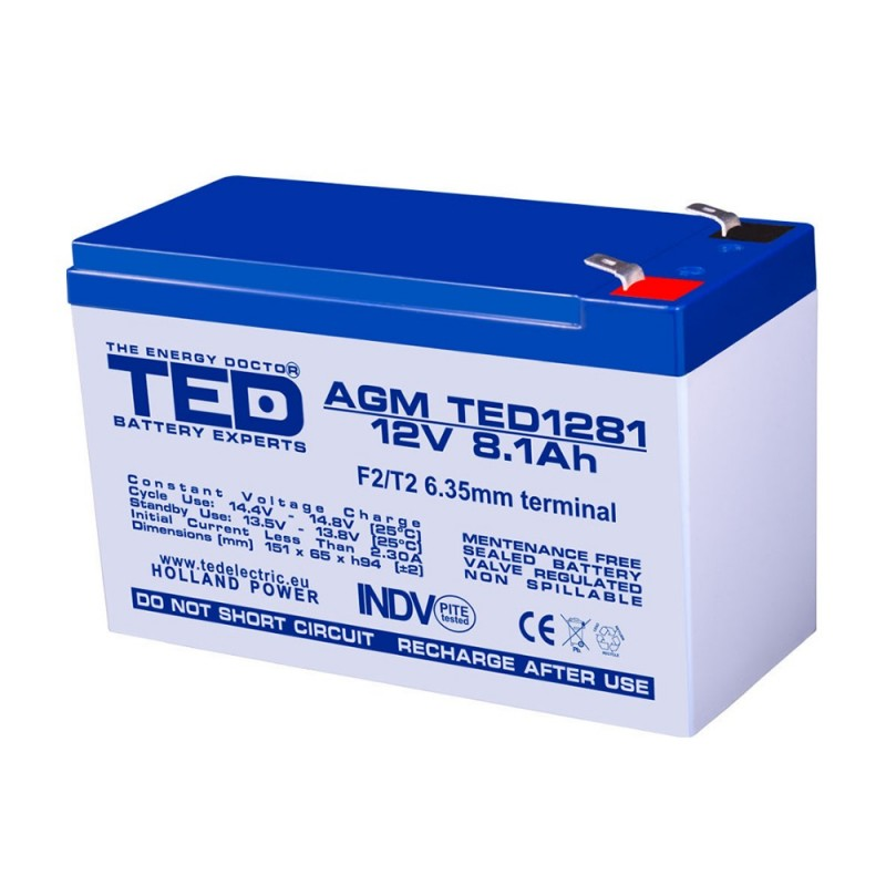 BATERIE AGM TED1281F2 12V 8.1Ah