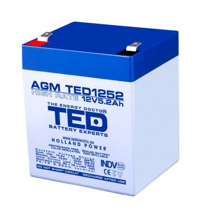 TEDBATERIE AGM TED1252HR 12V 5.2Ah HIGH RATE