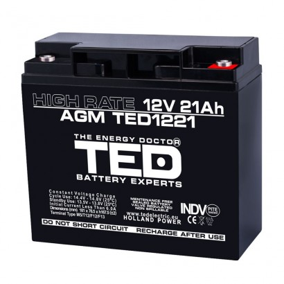 BATERIE AGM TED1221HRM5 12V 21Ah HIGH RATE