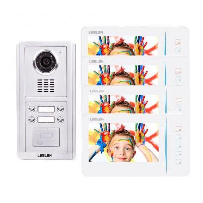 Videointerfon Leelen N60 pentru 4 apartamente cu cititor de card