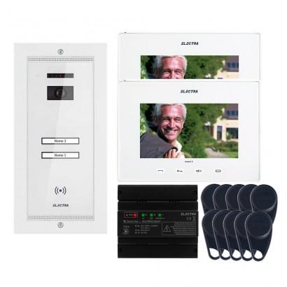 "ELECTRAVideointerfon Electra Smart+ 7"" pentru 2 familii montaj incastrat - alb"